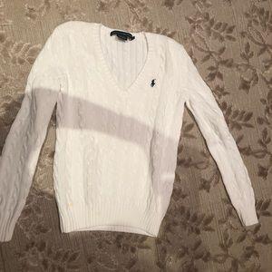 White Ralph Lauren Sport V neck sweater